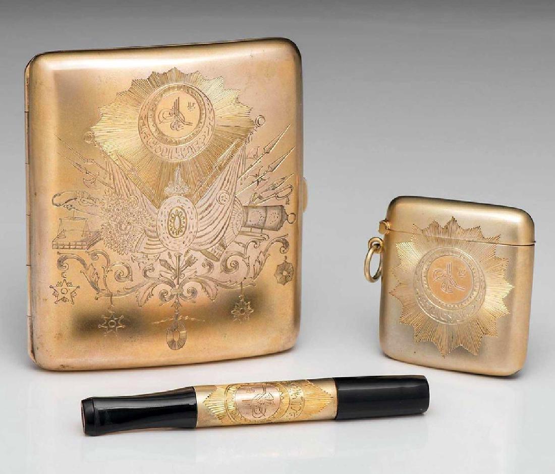 GERMAN Cigarette Case, Cigarette Holder, and Match Safe