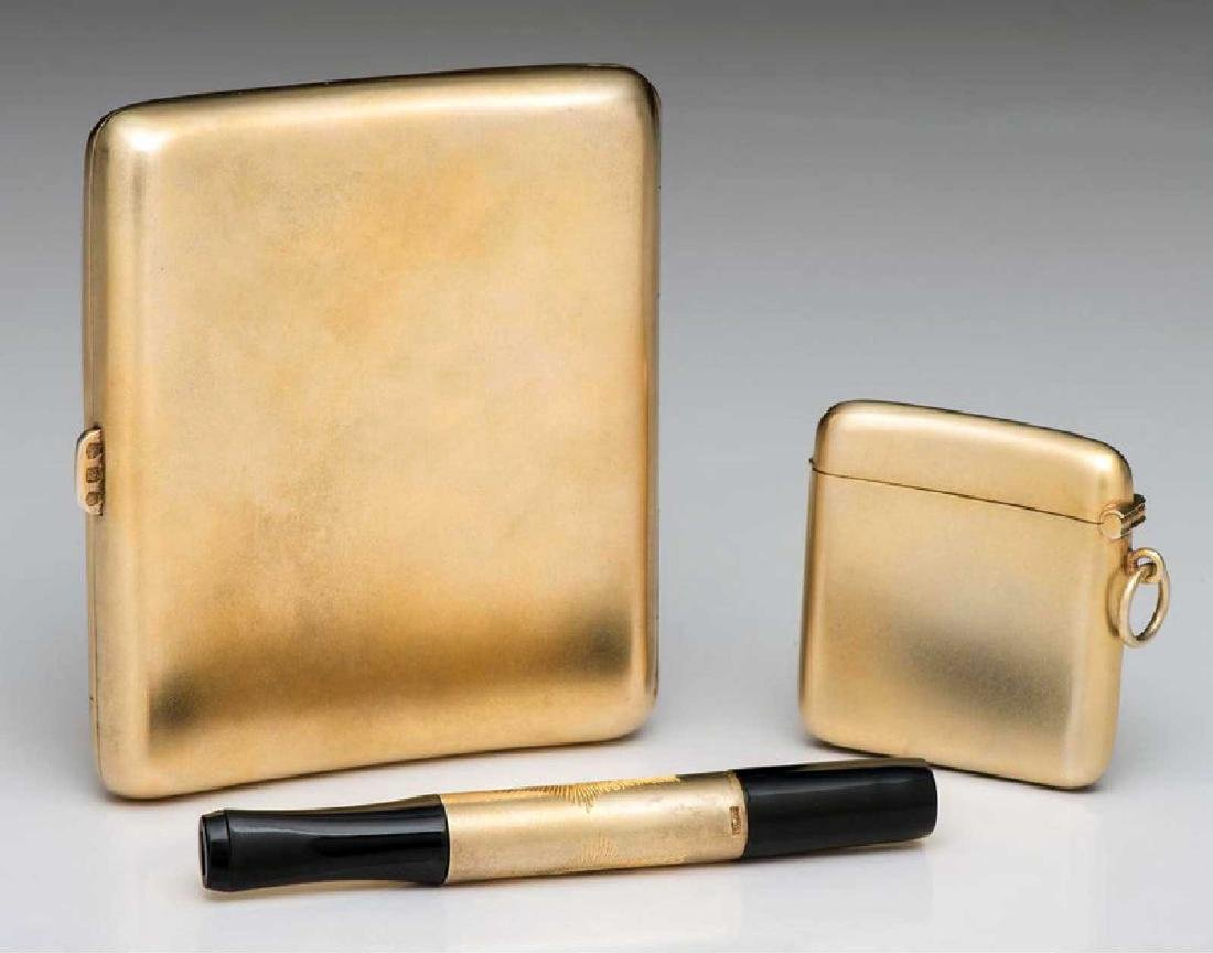 GERMAN Cigarette Case, Cigarette Holder, and Match Safe - 2