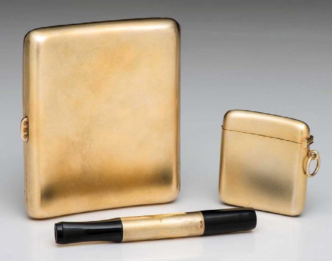 GERMAN Cigarette Case, Cigarette Holder, and Match Safe - 2
