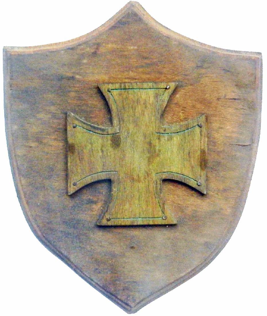 Original German WW2 Shield w. Iron Cross, Wood Carving