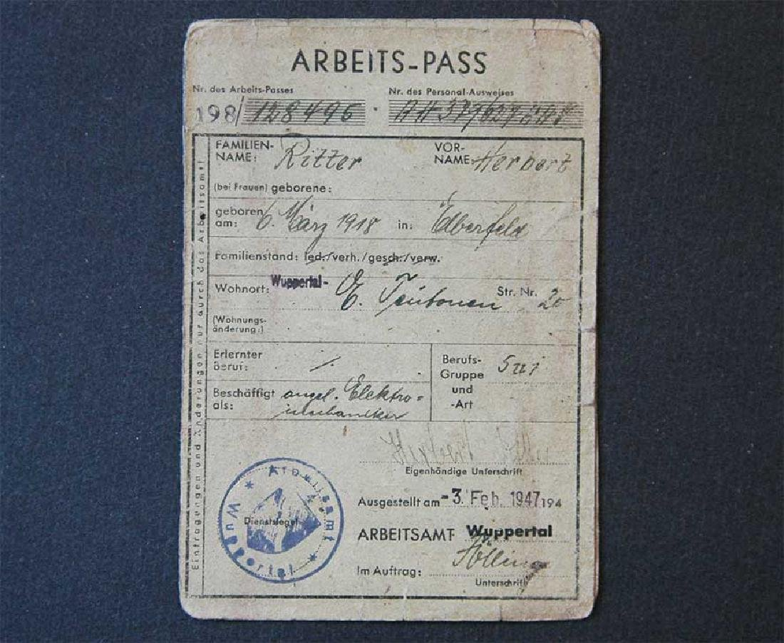 German WW2 Document Arbeits Pass, 1947
