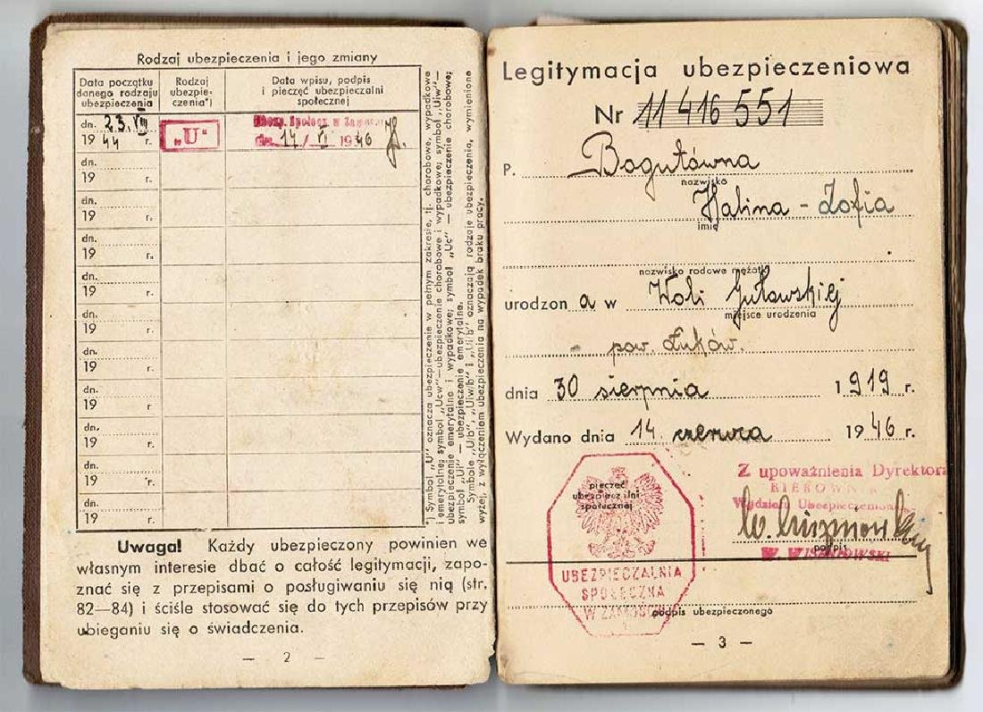 Polish Document - Insurance Card, 1946 - 1956