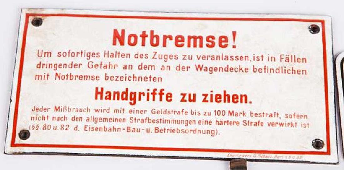 WWII GERMAN PORCELAIN SIGN NOTBREMSE-Emergency Brake