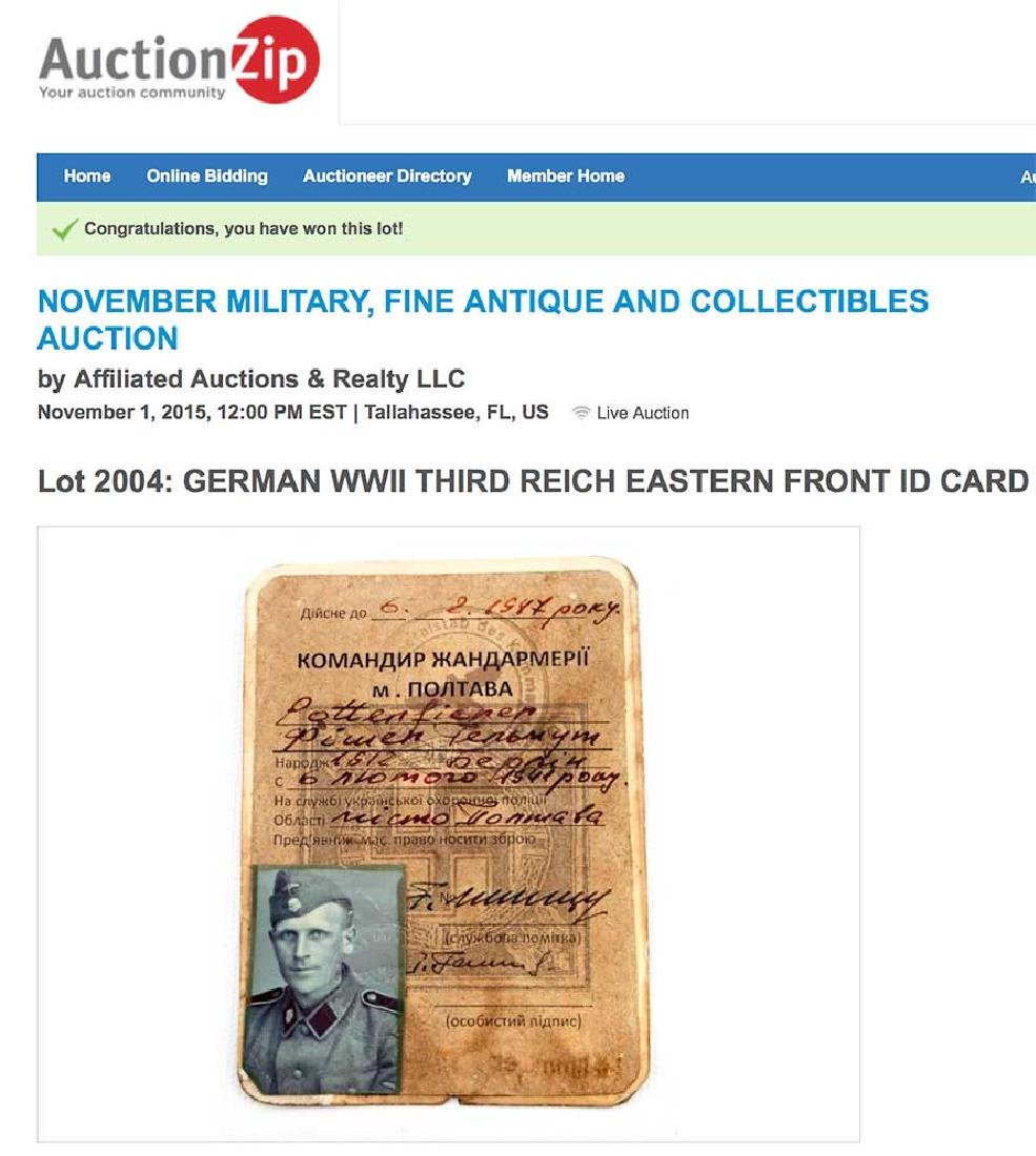 German WWII THIRD REICH EASTERN FRONT ID CARD - 6