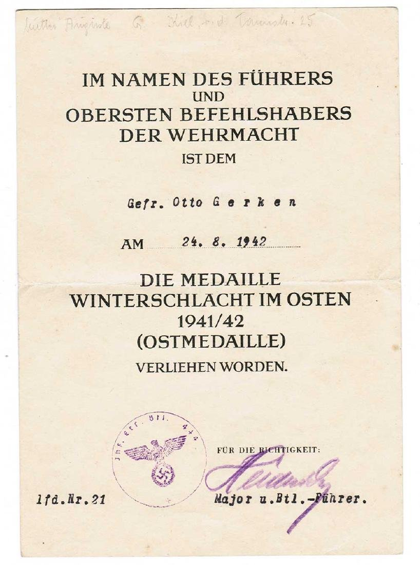 German WW2 Award Document OSTMEDAILLE, 1942