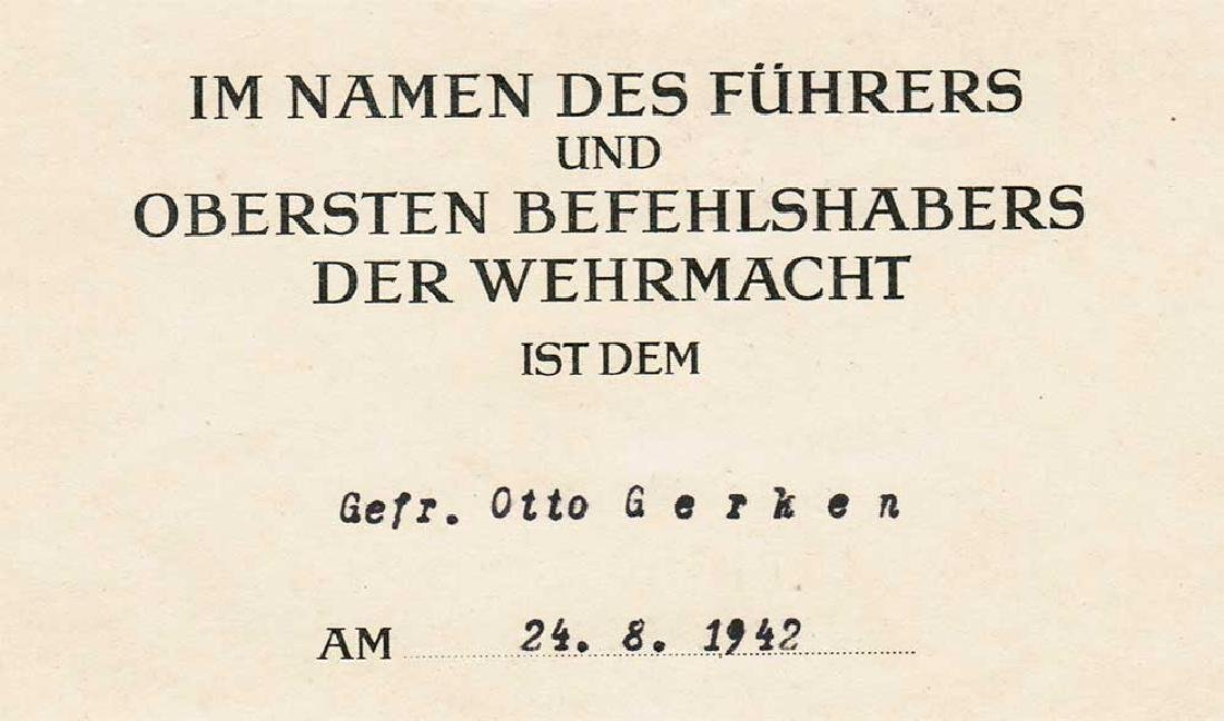 German WW2 Award Document OSTMEDAILLE, 1942 - 3