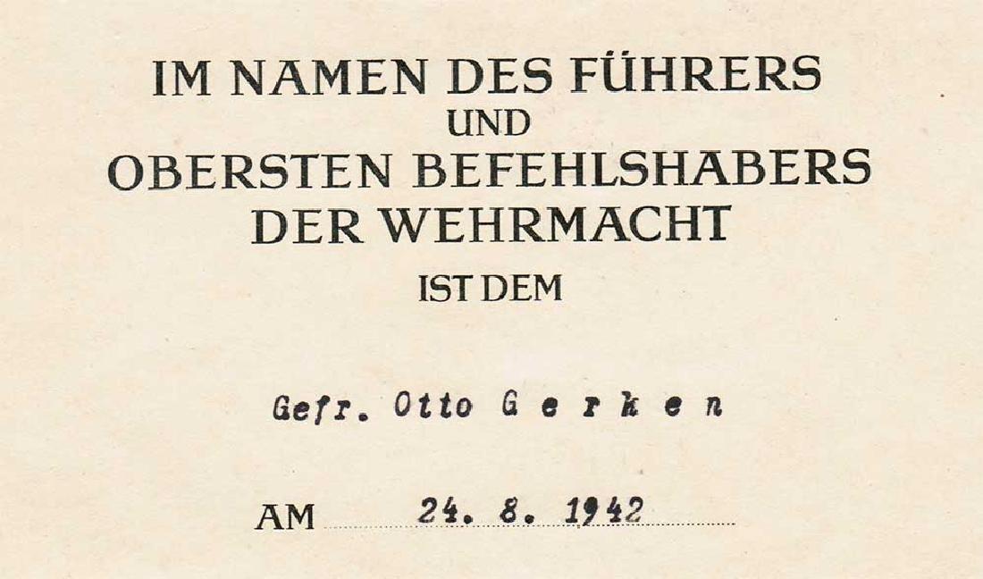 German WW2 Award Document OSTMEDAILLE, 1942 - 3