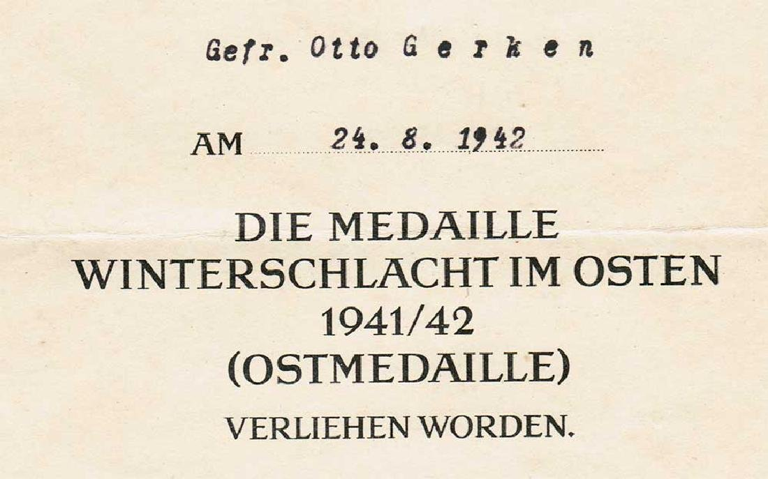 German WW2 Award Document OSTMEDAILLE, 1942 - 4