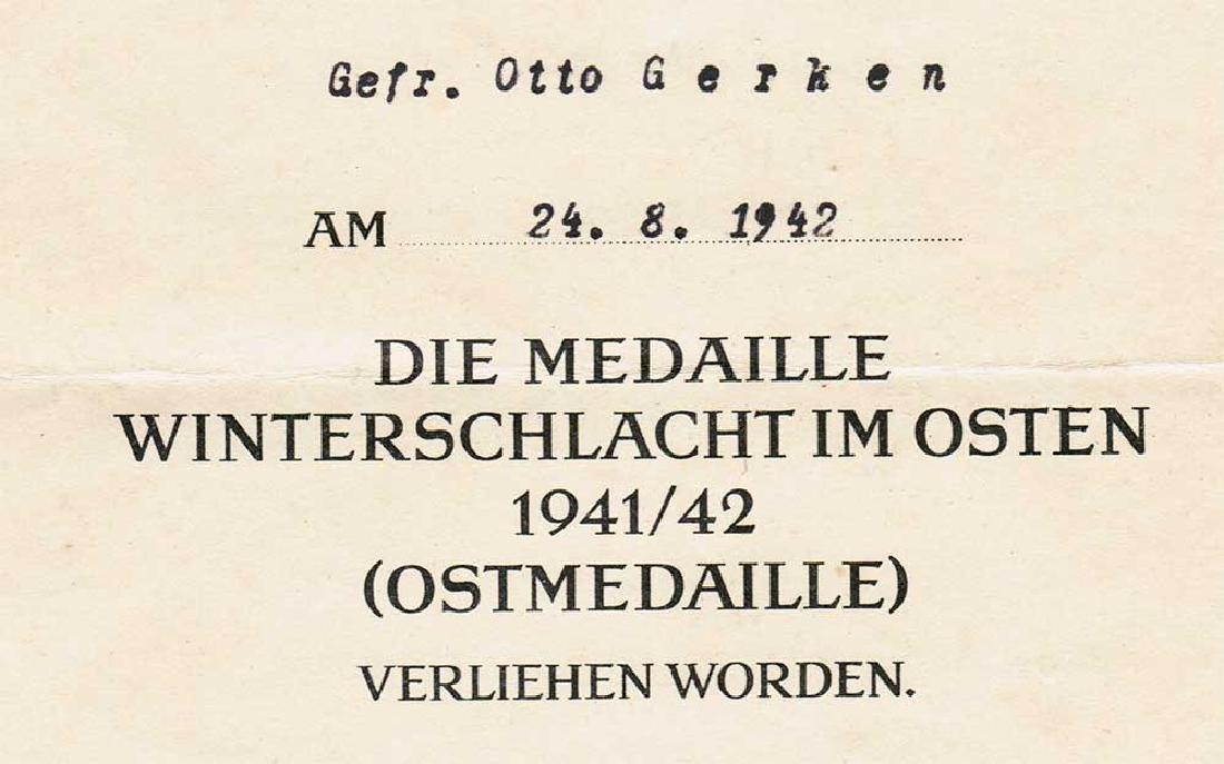 German WW2 Award Document OSTMEDAILLE, 1942 - 4