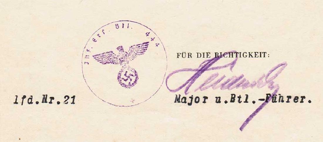 German WW2 Award Document OSTMEDAILLE, 1942 - 5