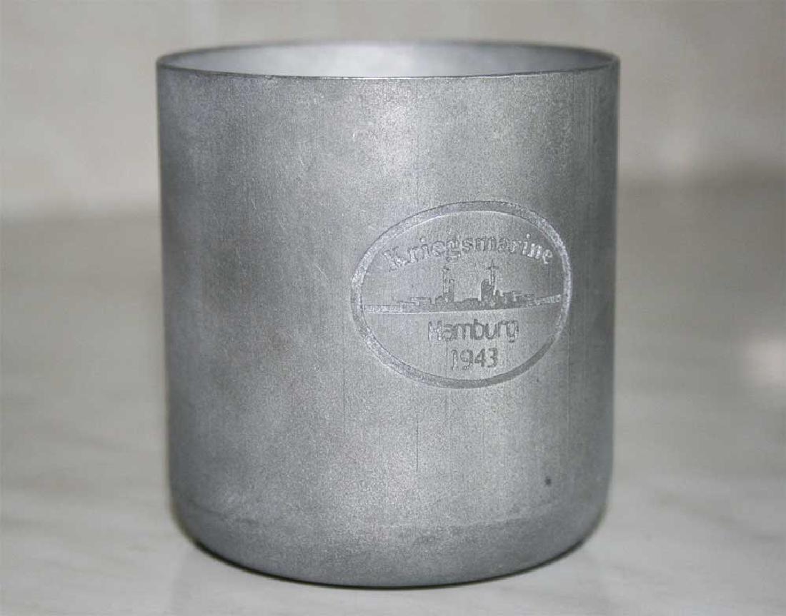 WW2 GERMAN KRIEGSMARINE Metal Cup, HAMBURG, 1943