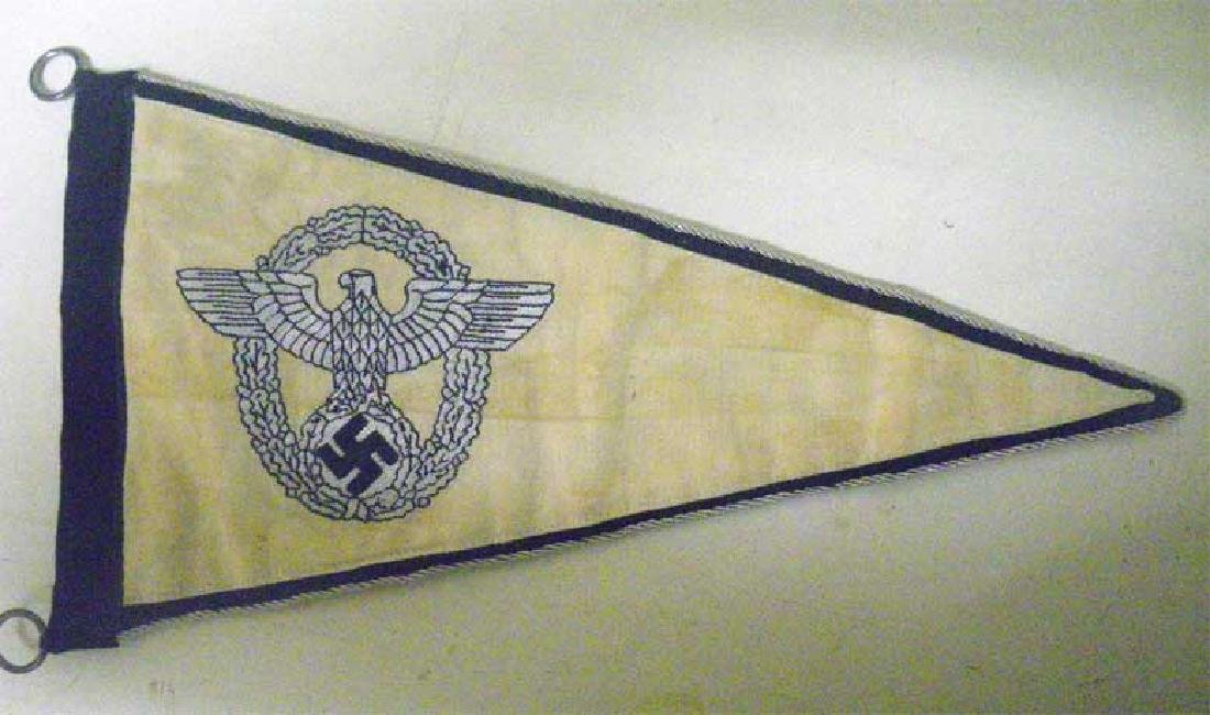 Very Rare German WW2 POLICE Car Pennant, Embroidered