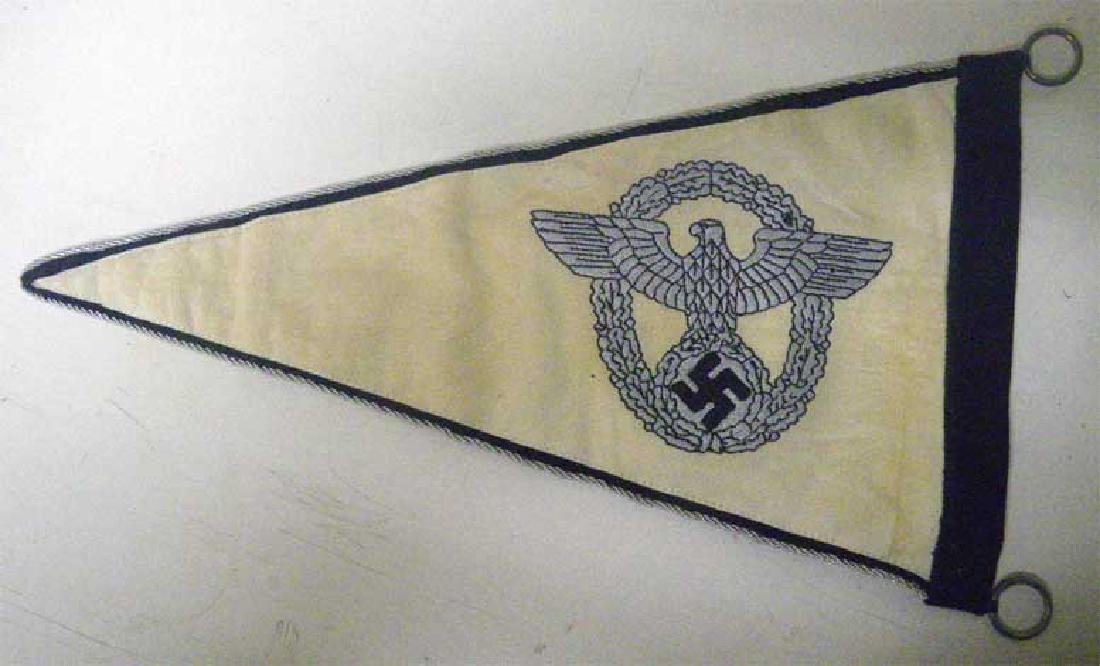 Very Rare German WW2 POLICE Car Pennant, Embroidered - 2