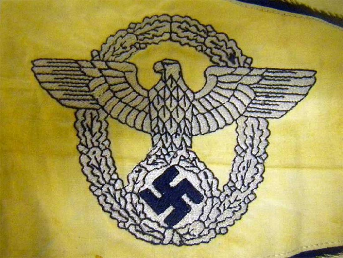 Very Rare German WW2 POLICE Car Pennant, Embroidered - 3