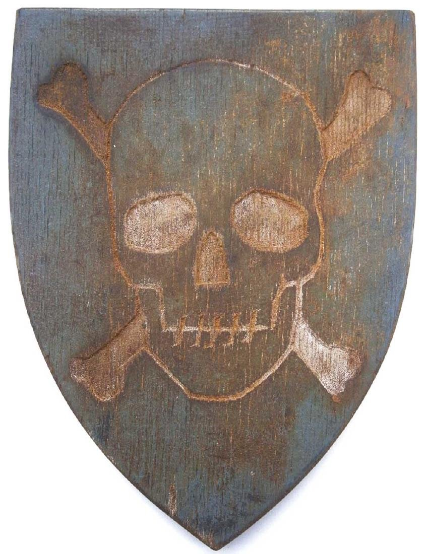 Original German WW2 Shield Skull & Bones, 1941-1945