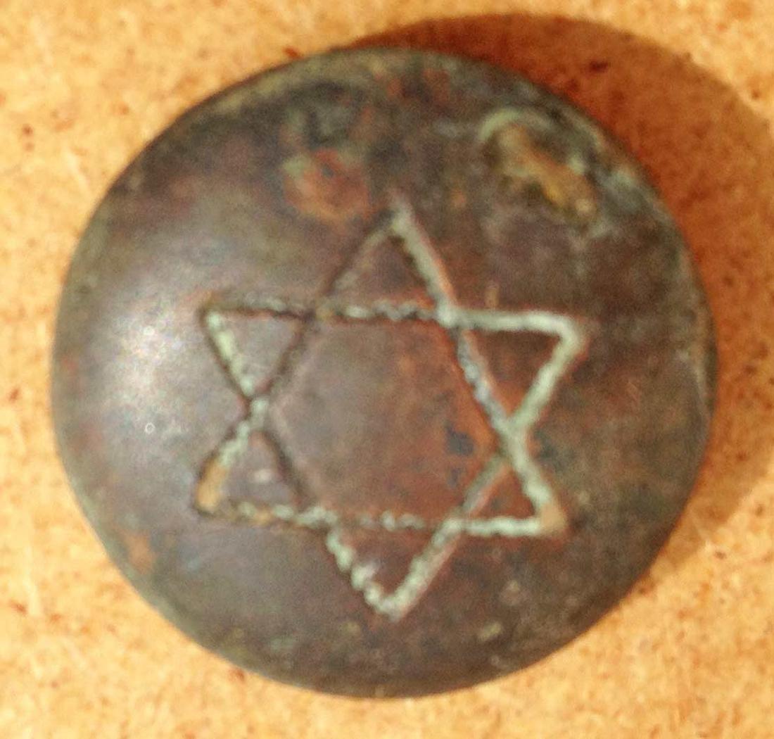 Jewish WW2 Button w. Star of David, Litzmannstadt 1941 - 3