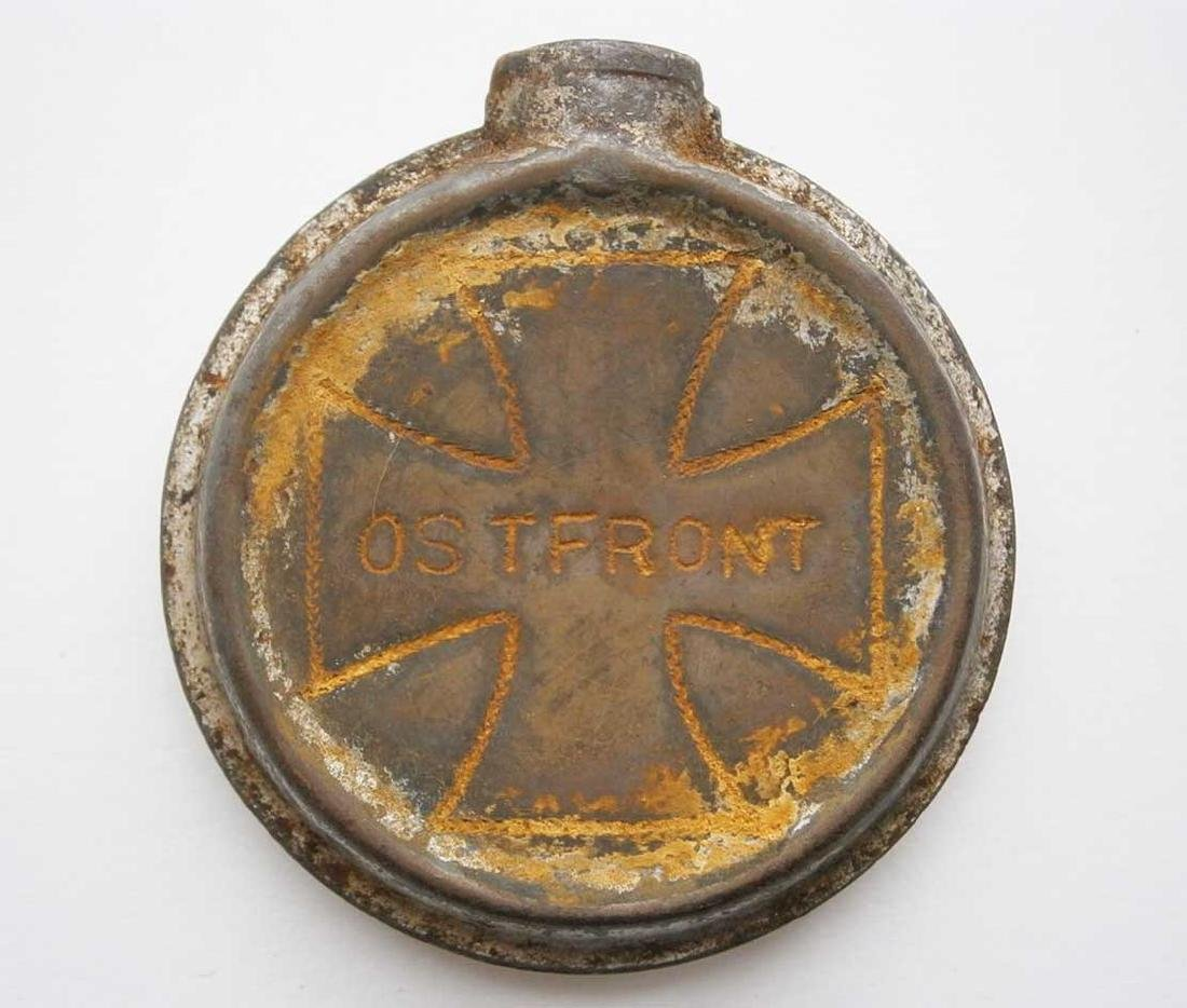 German WW2 Bottle w. Iron Cross, OSTFRONT Trench Art
