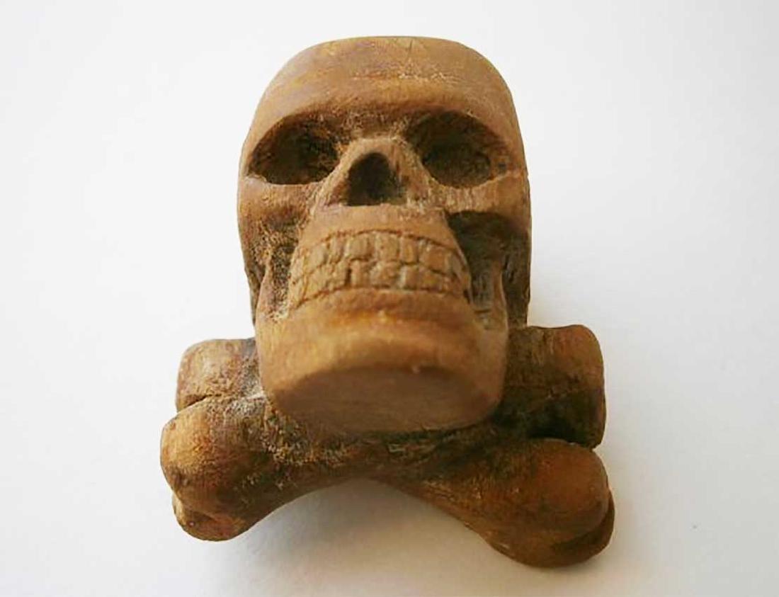 Original German WW2 Large Skull & Bones, Wood Carving