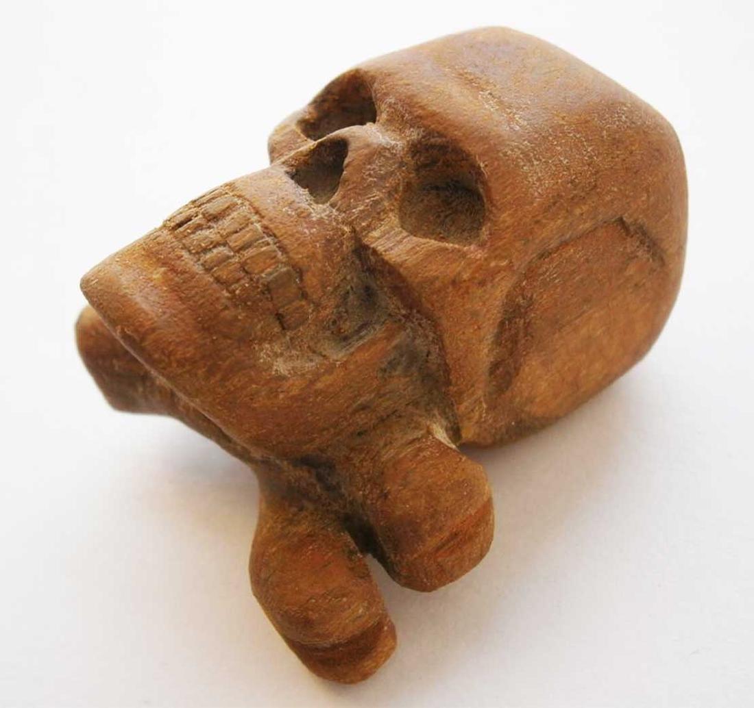 Original German WW2 Large Skull & Bones, Wood Carving - 3