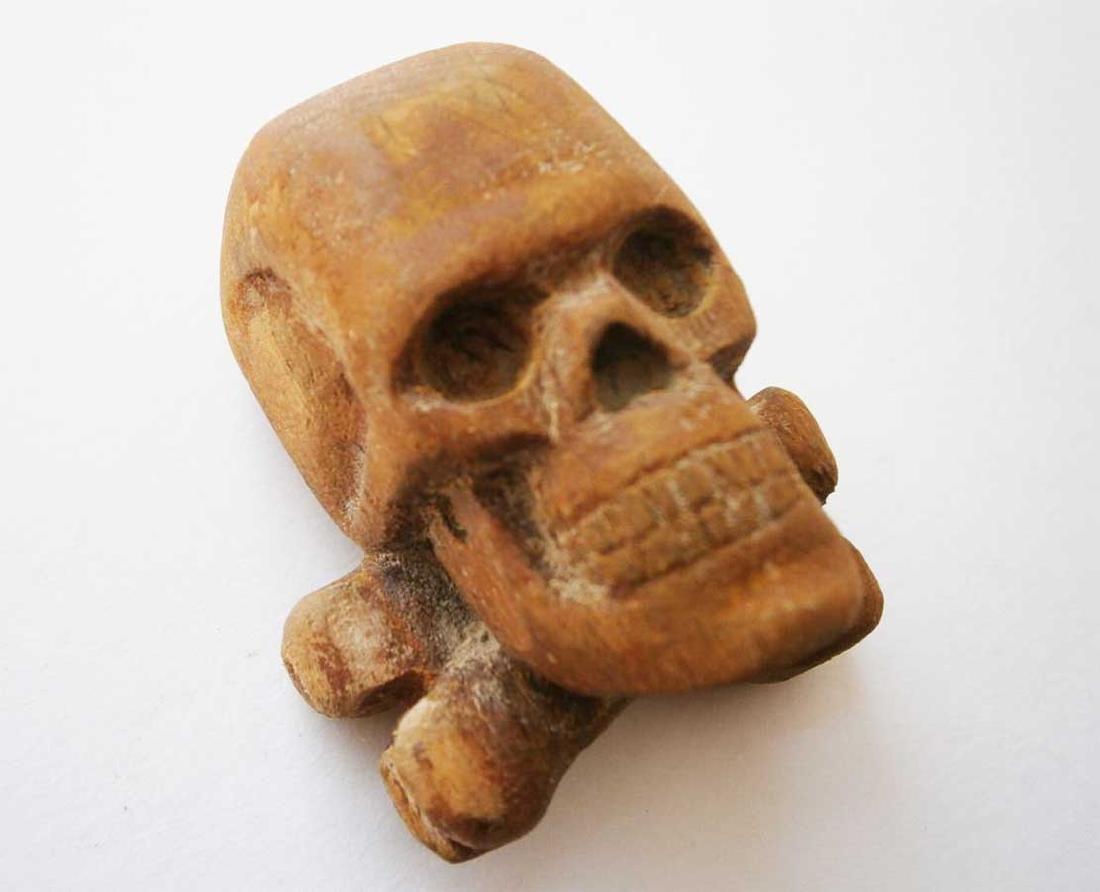 Original German WW2 Large Skull & Bones, Wood Carving - 6