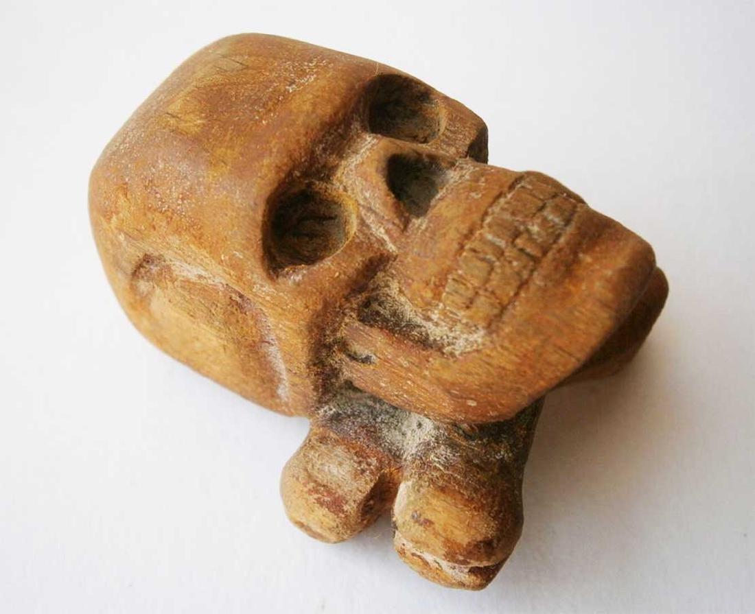 Original German WW2 Large Skull & Bones, Wood Carving - 7