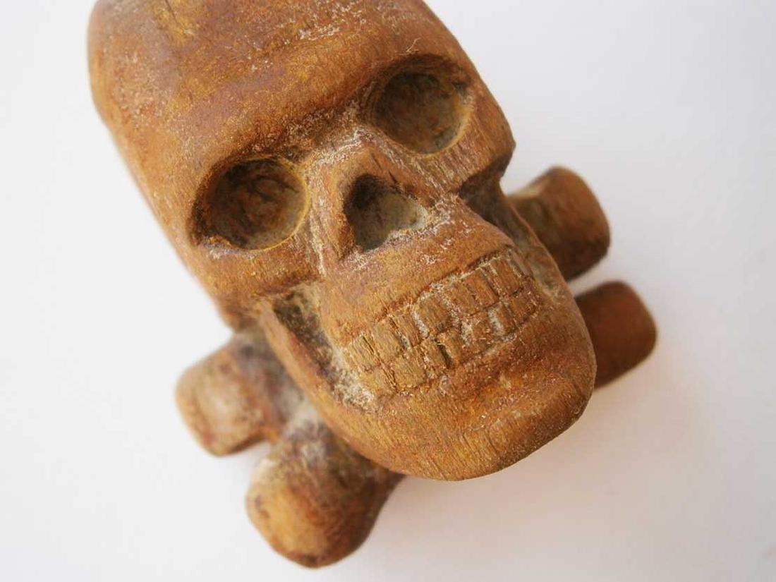 Original German WW2 Large Skull & Bones, Wood Carving - 8