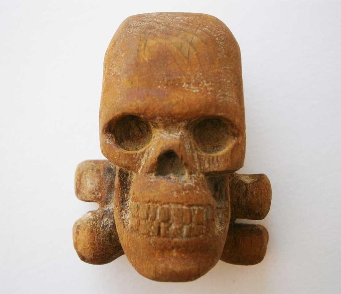 Original German WW2 Large Skull & Bones, Wood Carving - 9