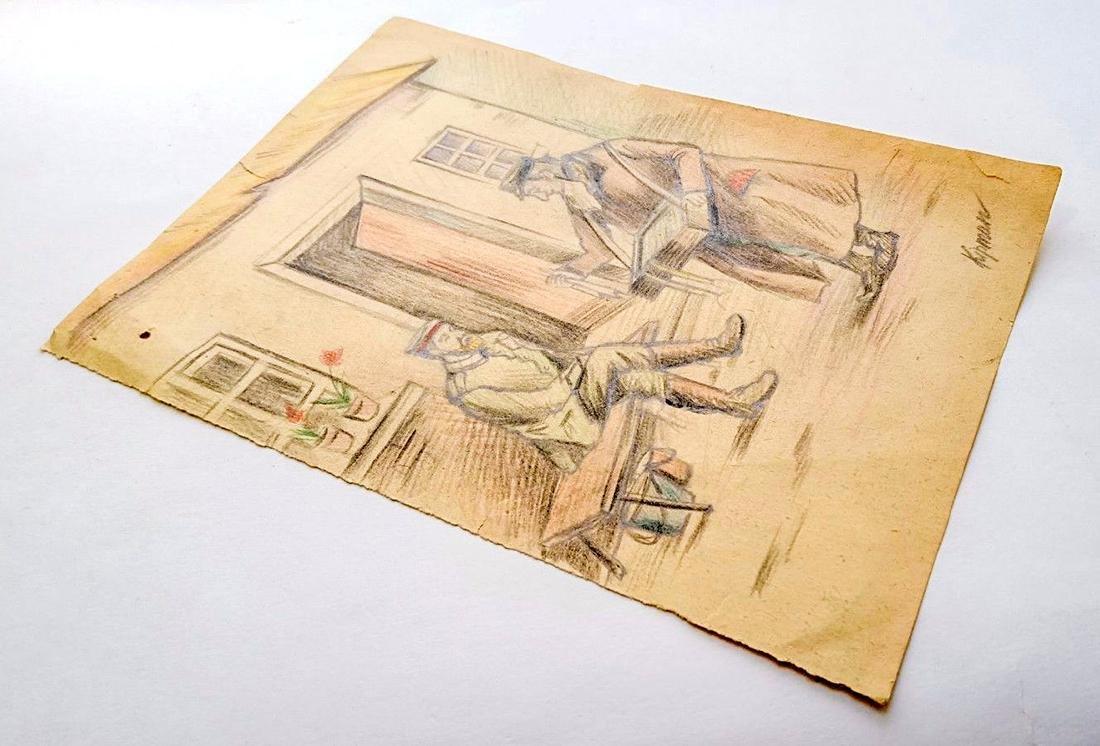 Original Jewish WW2 Pencil Draving, Artist Kipman, 1942 - 2
