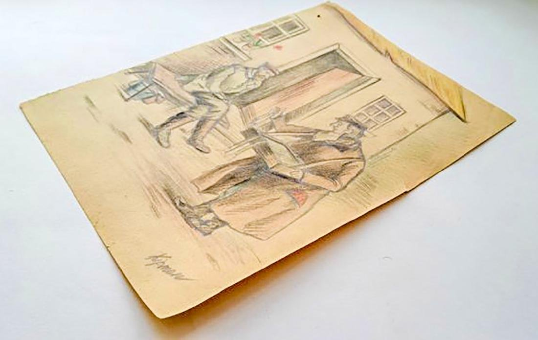 Original Jewish WW2 Pencil Draving, Artist Kipman, 1942 - 3