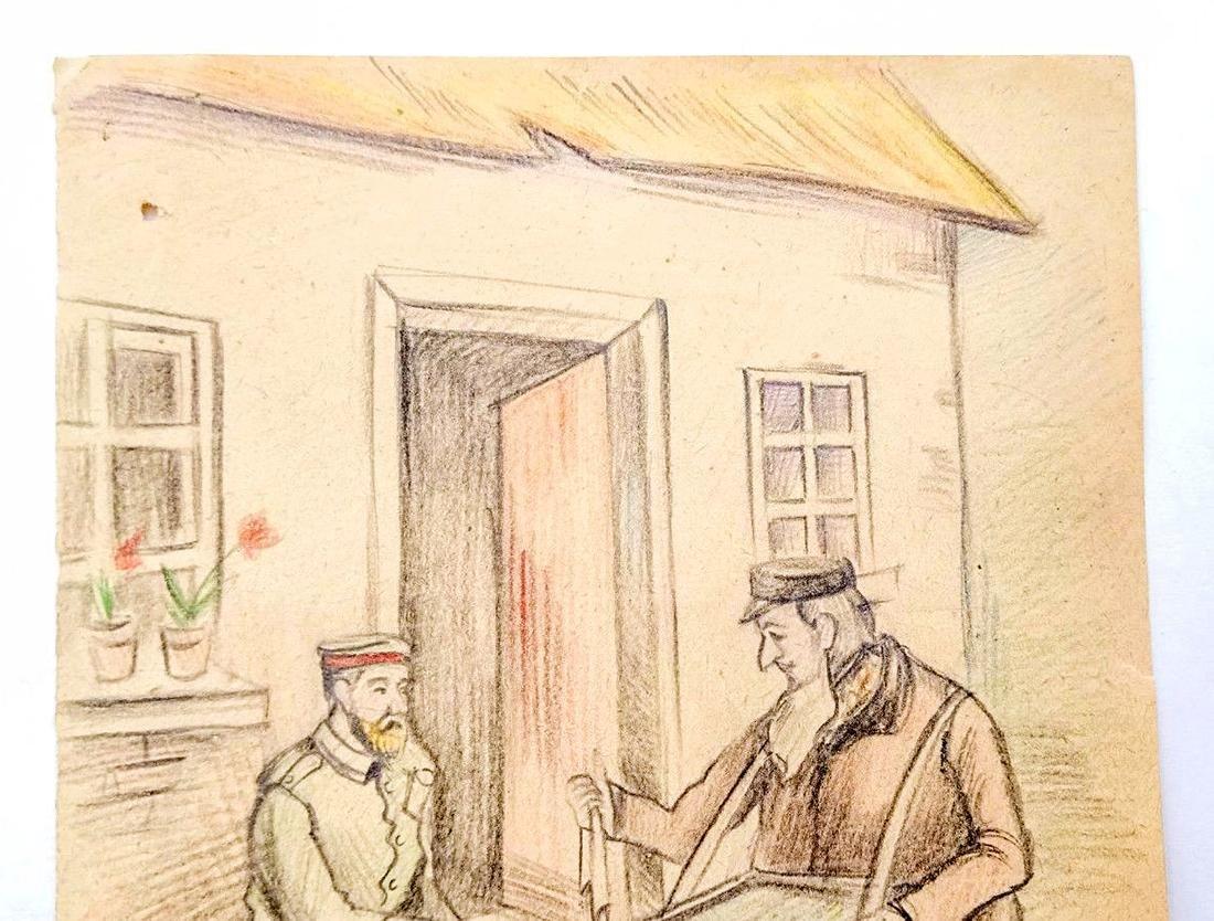 Original Jewish WW2 Pencil Draving, Artist Kipman, 1942 - 4