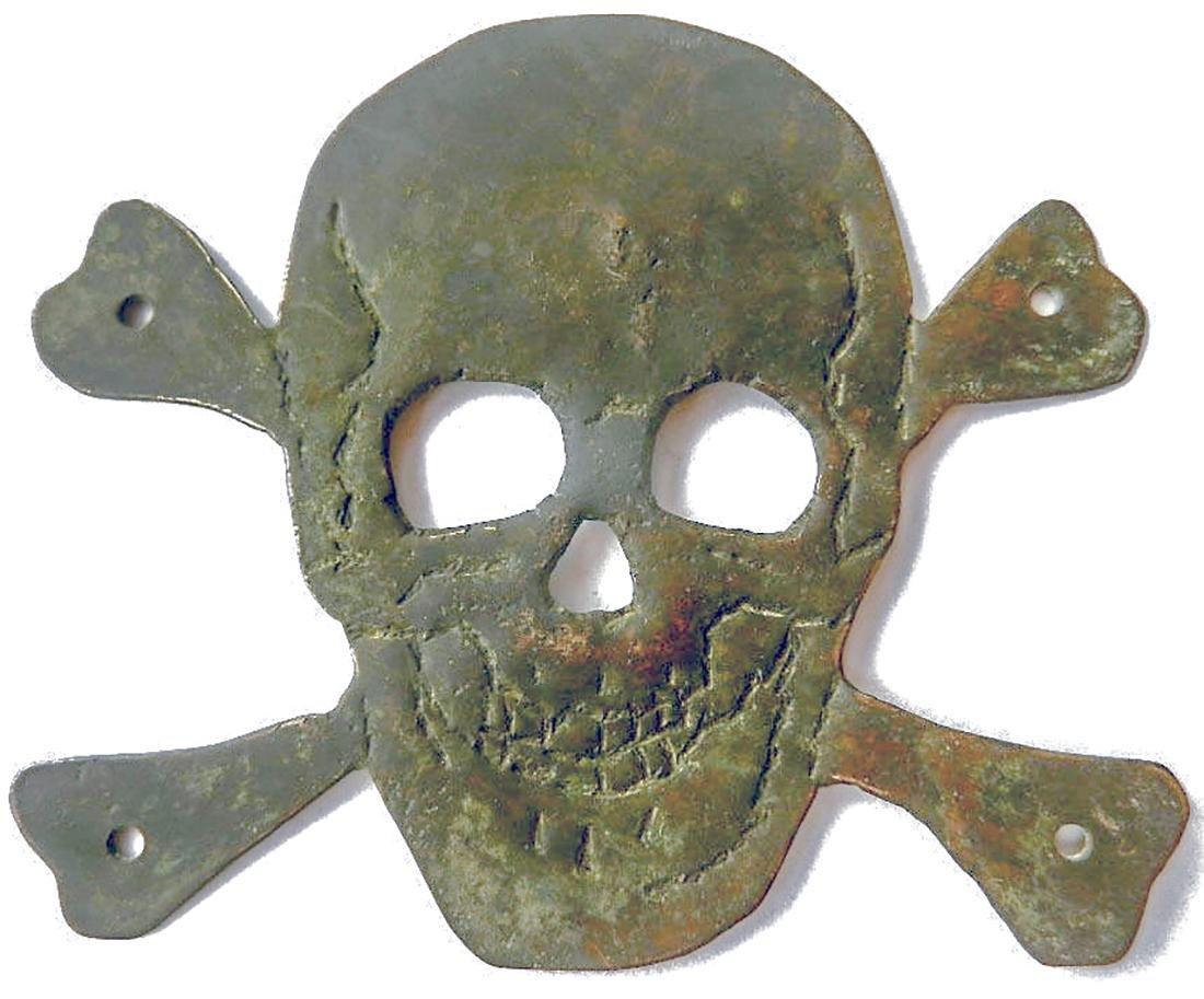 Original German WW2 Skull & Bones f. Helmet M35 or M42