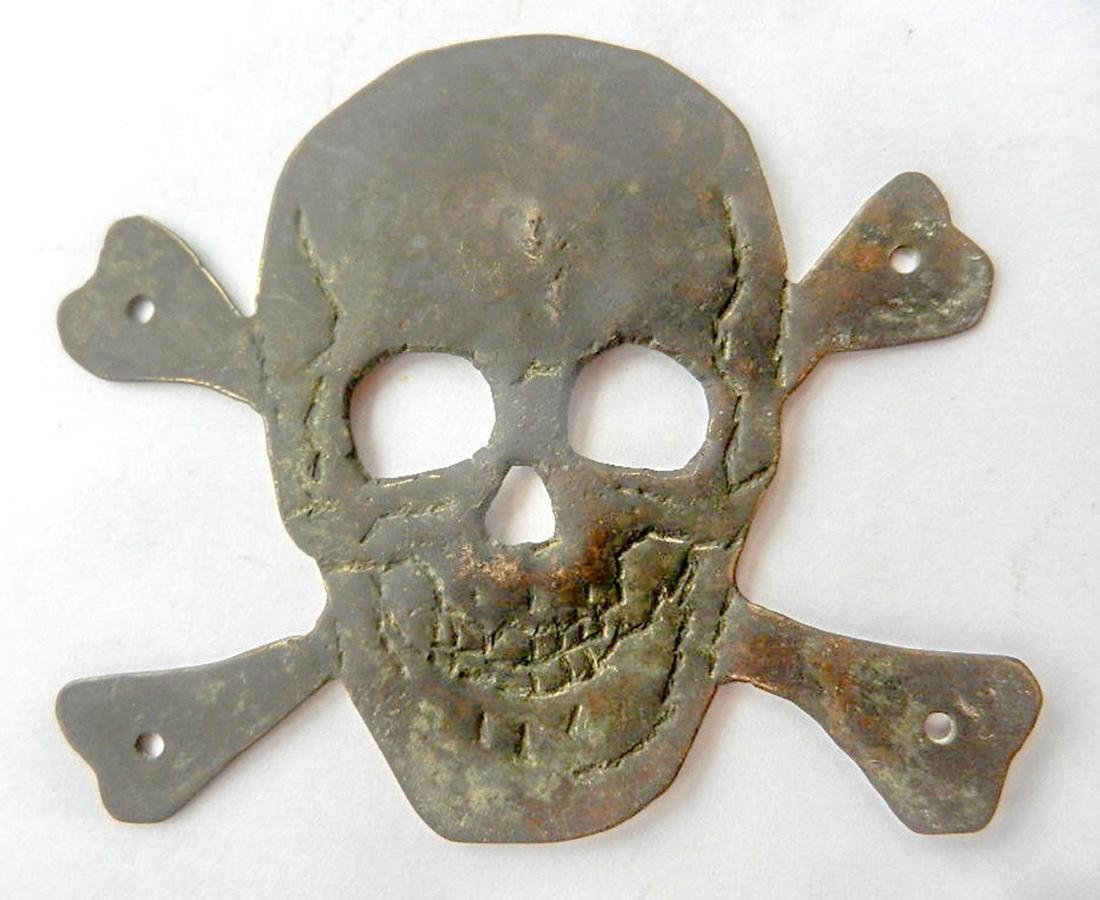 Original German WW2 Skull & Bones f. Helmet M35 or M42 - 8