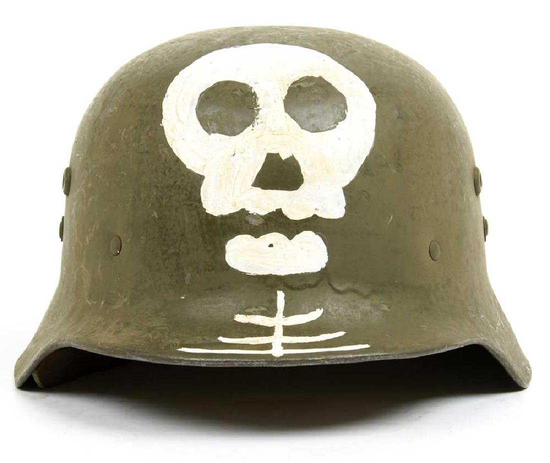 Original German WW2 Skull & Bones f. Helmet M35 or M42 - 9