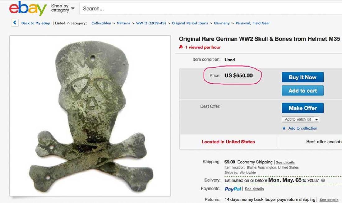 German WW2 SKULL & BONEs in WREATH for Hat HELMET - 8