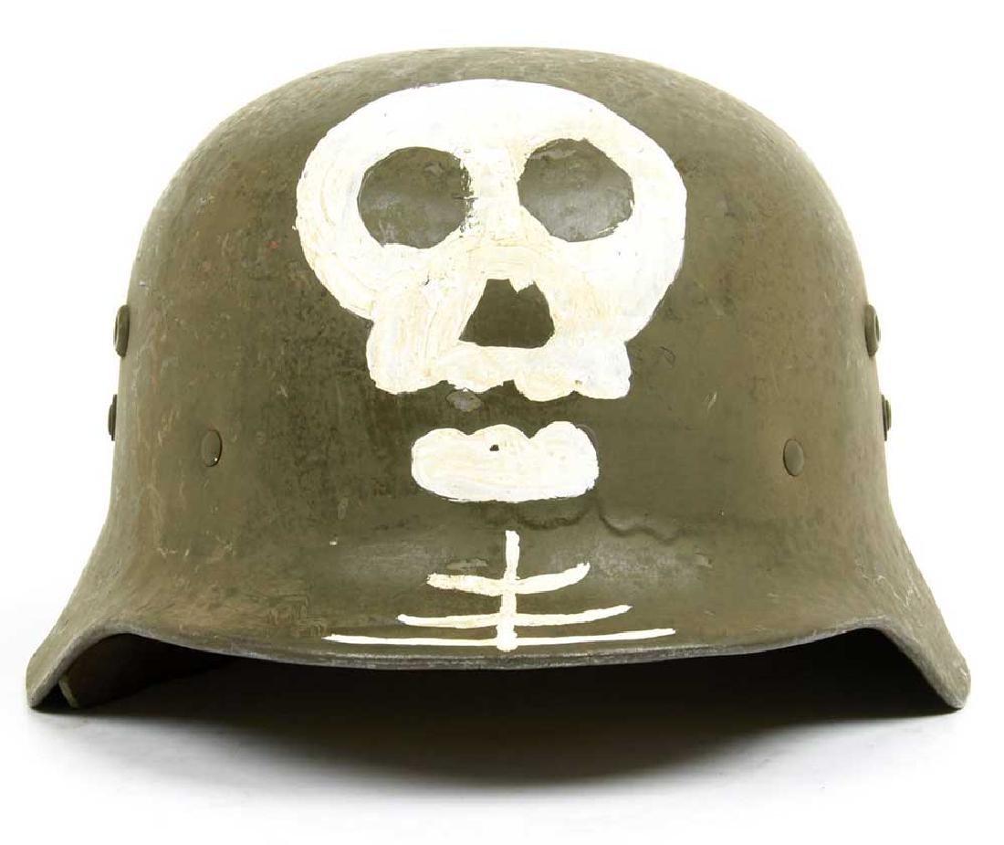 German WW2 SKULL & BONEs in WREATH for Hat HELMET - 9
