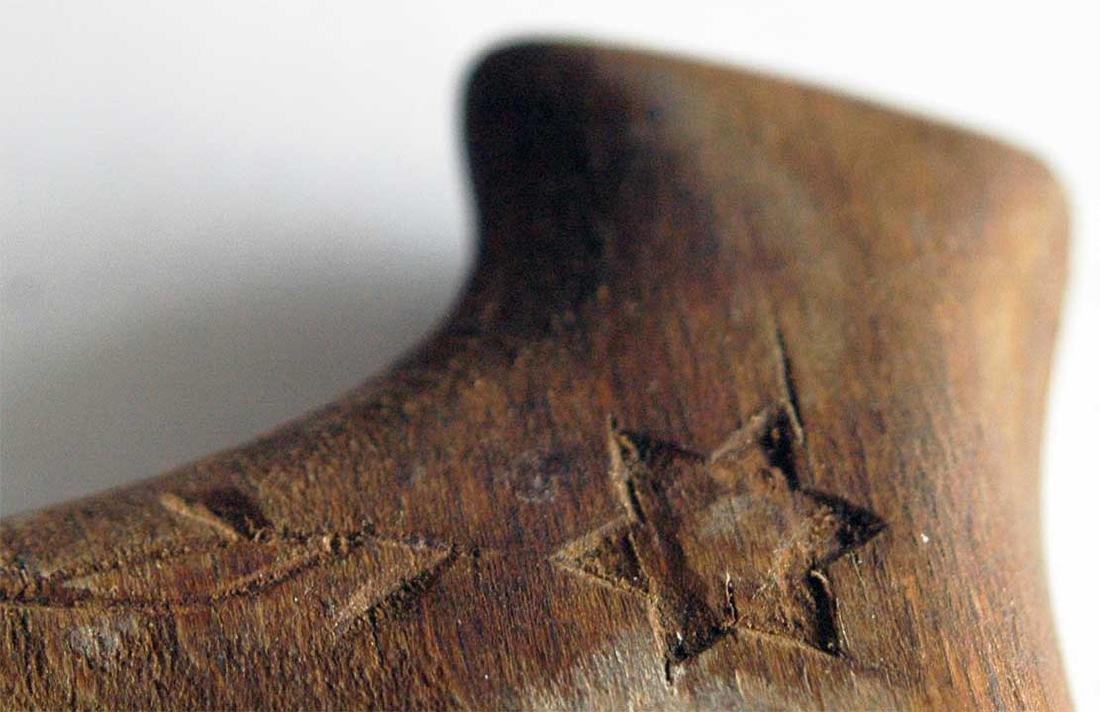 Jewish WW2 Handle Stick w. David Star fr. LITZMANNSTADT - 6
