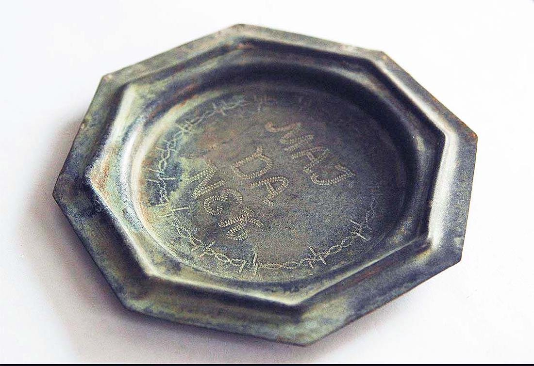 German WW2 Plate MAJDANEK w. Wire Barb, 1941-1944