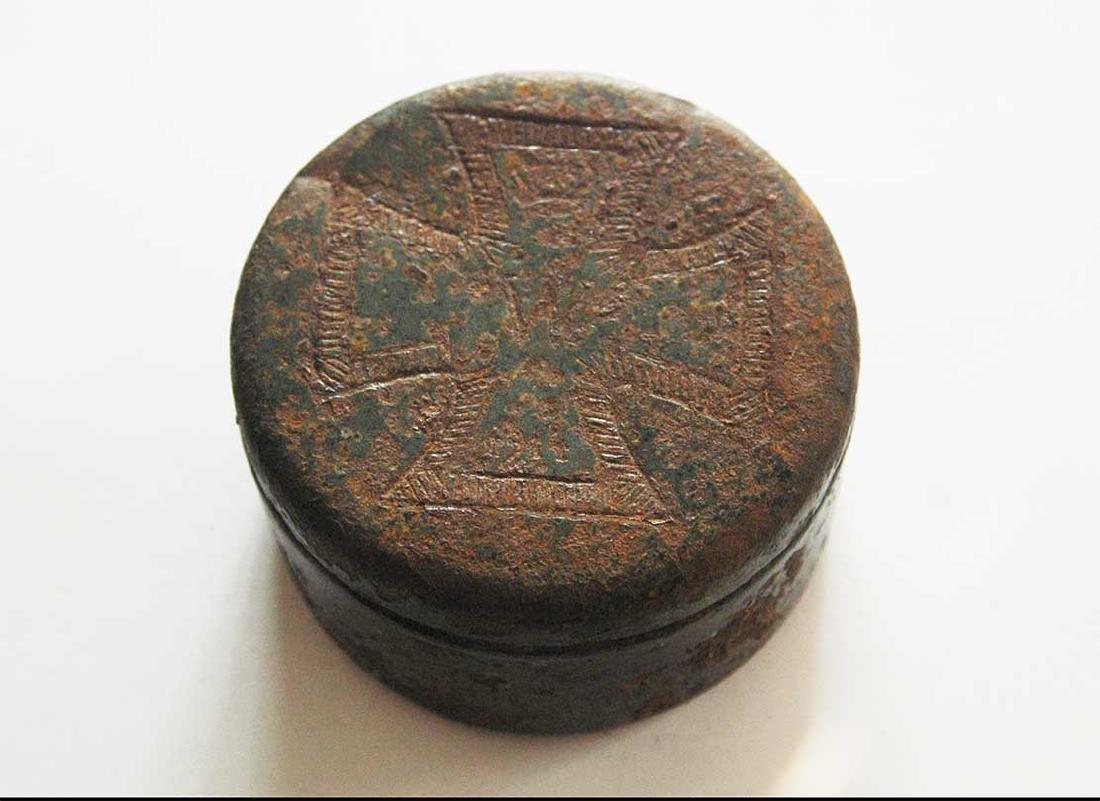 Original German WW2 Enameled Box w. Iron Cross