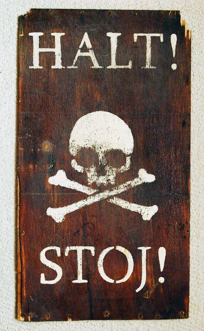 Original German WW2 Sign Stop-HALT w. Skull & Bones