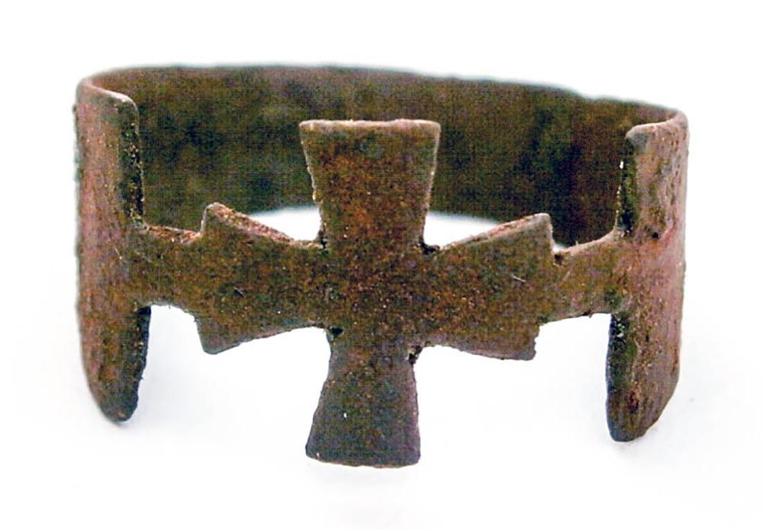 Original German WW2 Ring w. Iron Cross, Trench Art