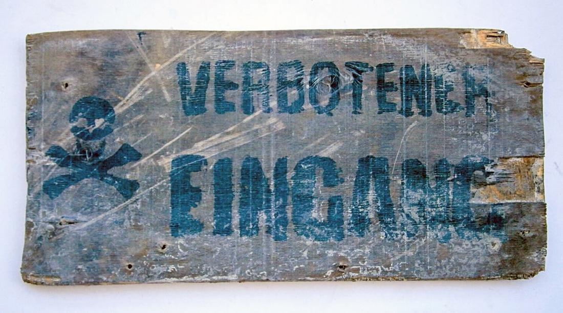 German WW2 Sign Entrance Forbidden w. Skull & Bones