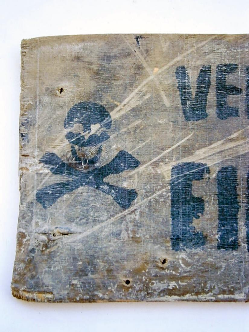 German WW2 Sign Entrance Forbidden w. Skull & Bones - 6