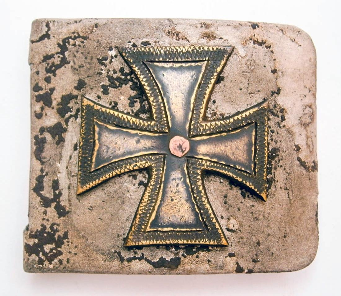 German WW2 Belt Buckle w. Iron Cross, Trench Art