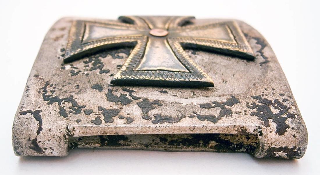 German WW2 Belt Buckle w. Iron Cross, Trench Art - 4