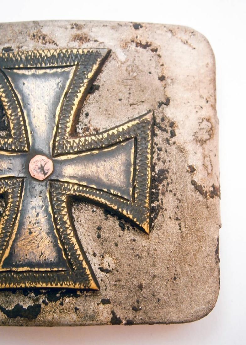 German WW2 Belt Buckle w. Iron Cross, Trench Art - 6