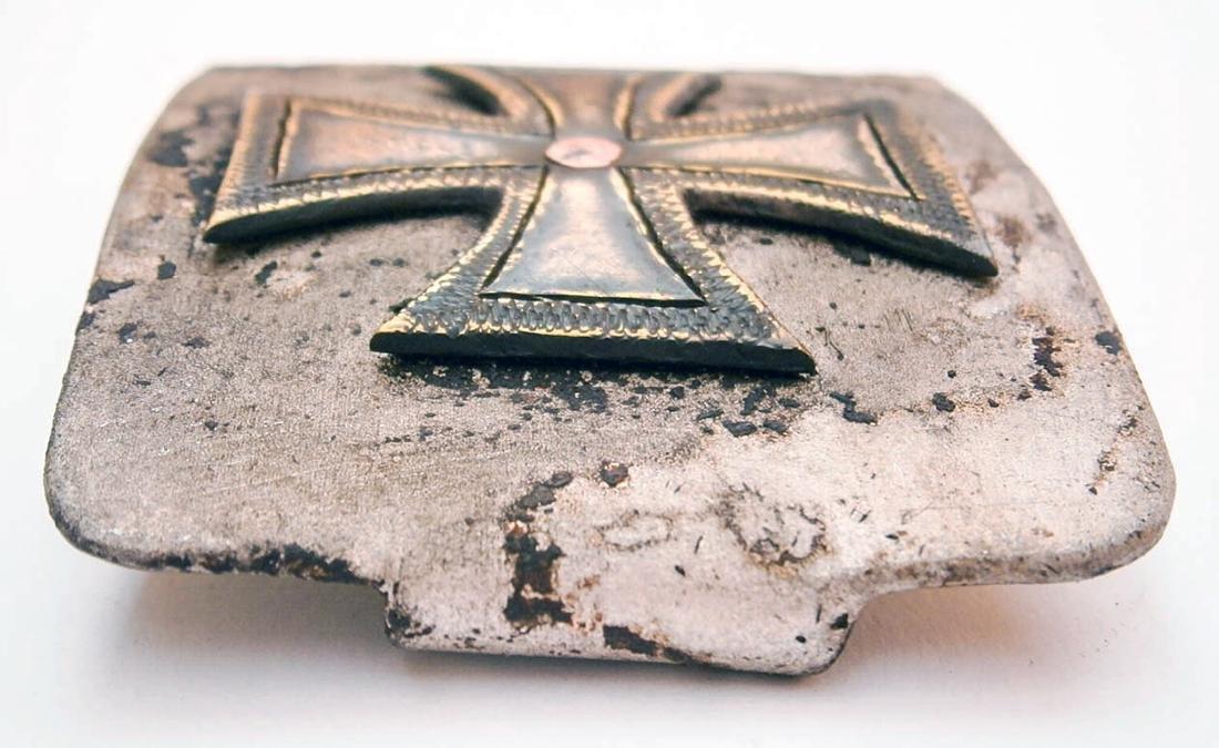 German WW2 Belt Buckle w. Iron Cross, Trench Art - 7
