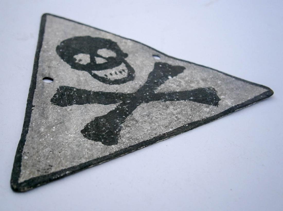Original German WW2 SIGN w. Skull & Bones - 2