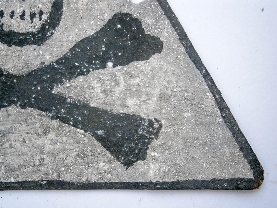 Original German WW2 SIGN w. Skull & Bones - 6