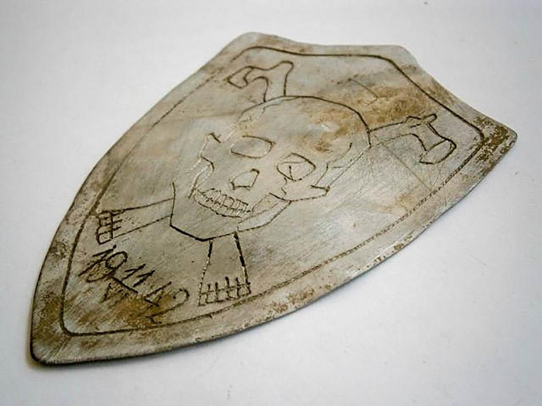 Original German WW2 SHIELD w. Skull & Bones, Trench Art - 4