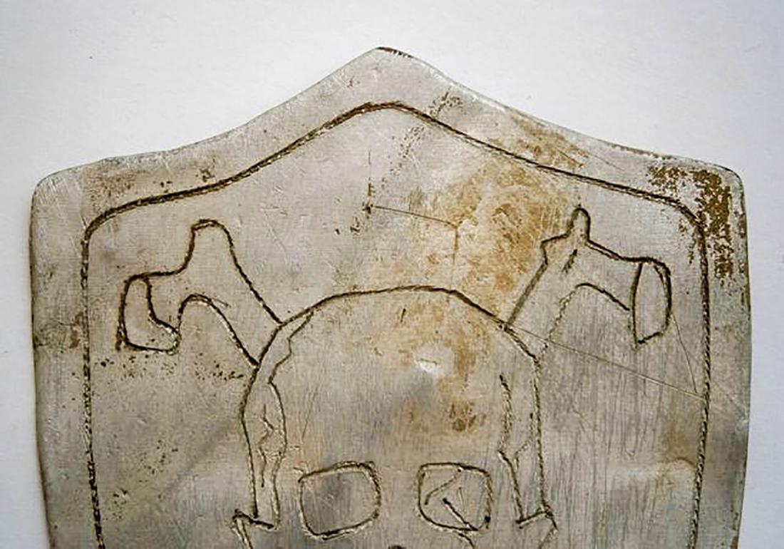 Original German WW2 SHIELD w. Skull & Bones, Trench Art - 6